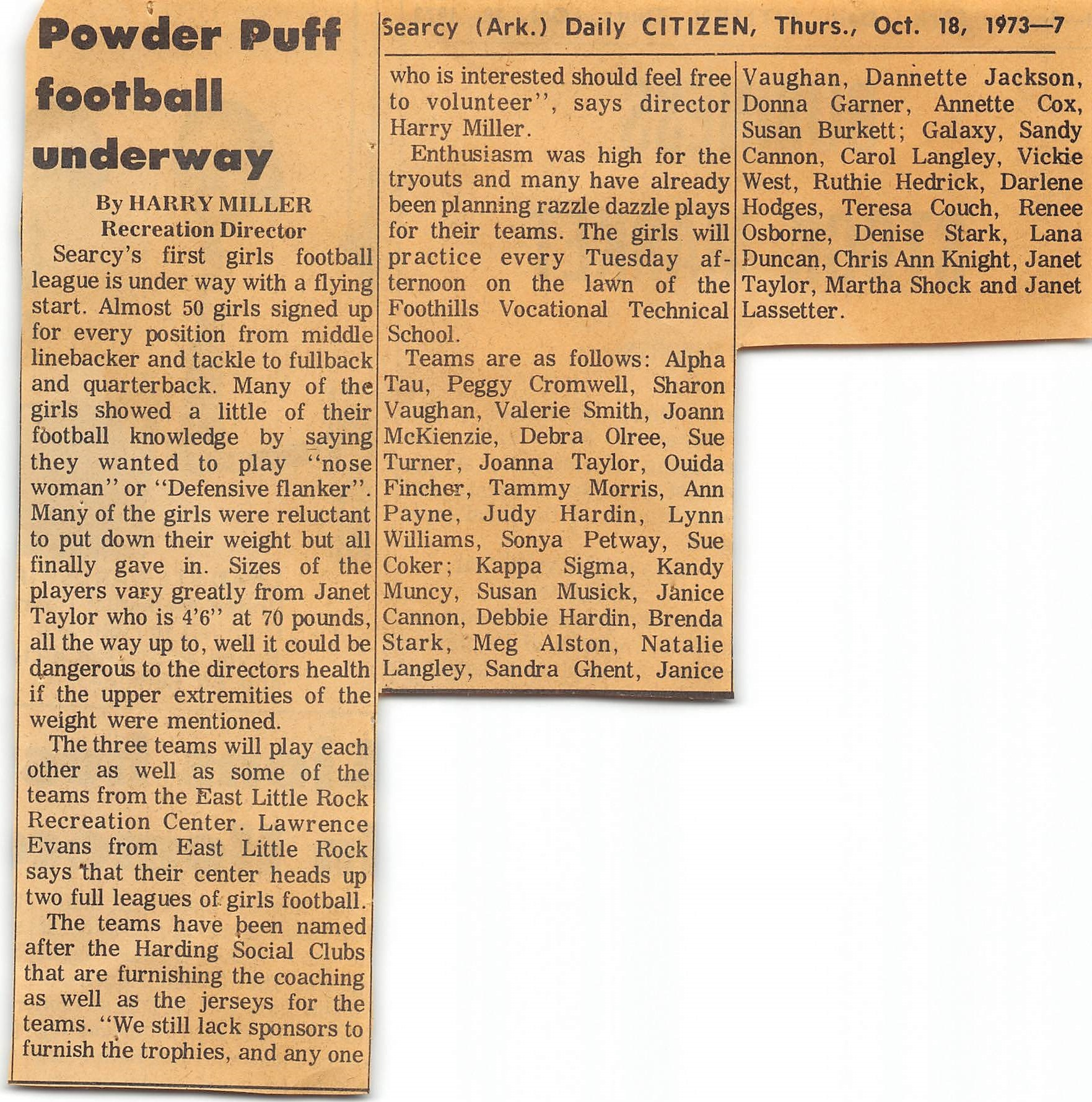 Girls football Searcy AR Harry Miller article 1973