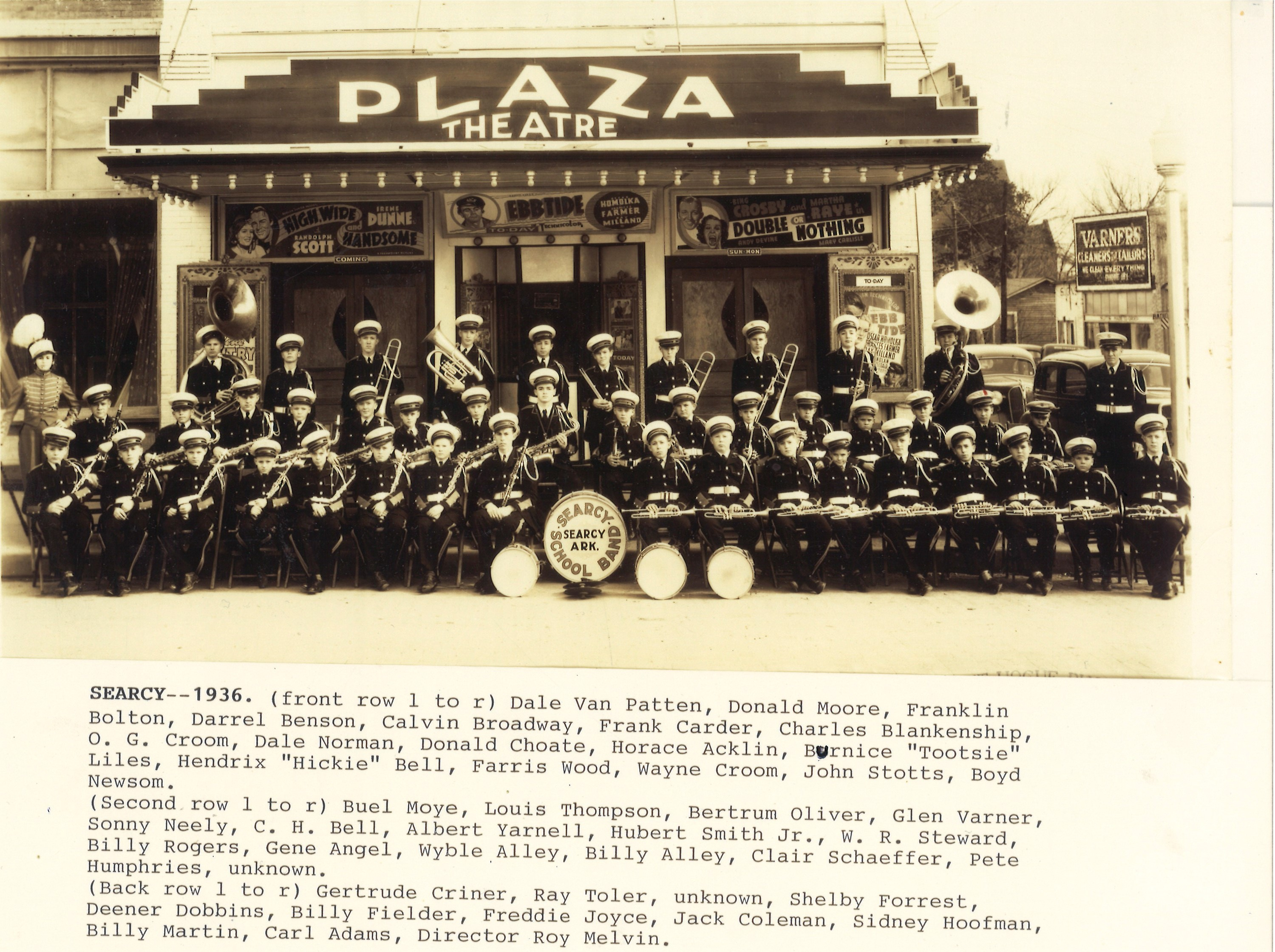Plaza Theater Searcy AR group with names historic photo