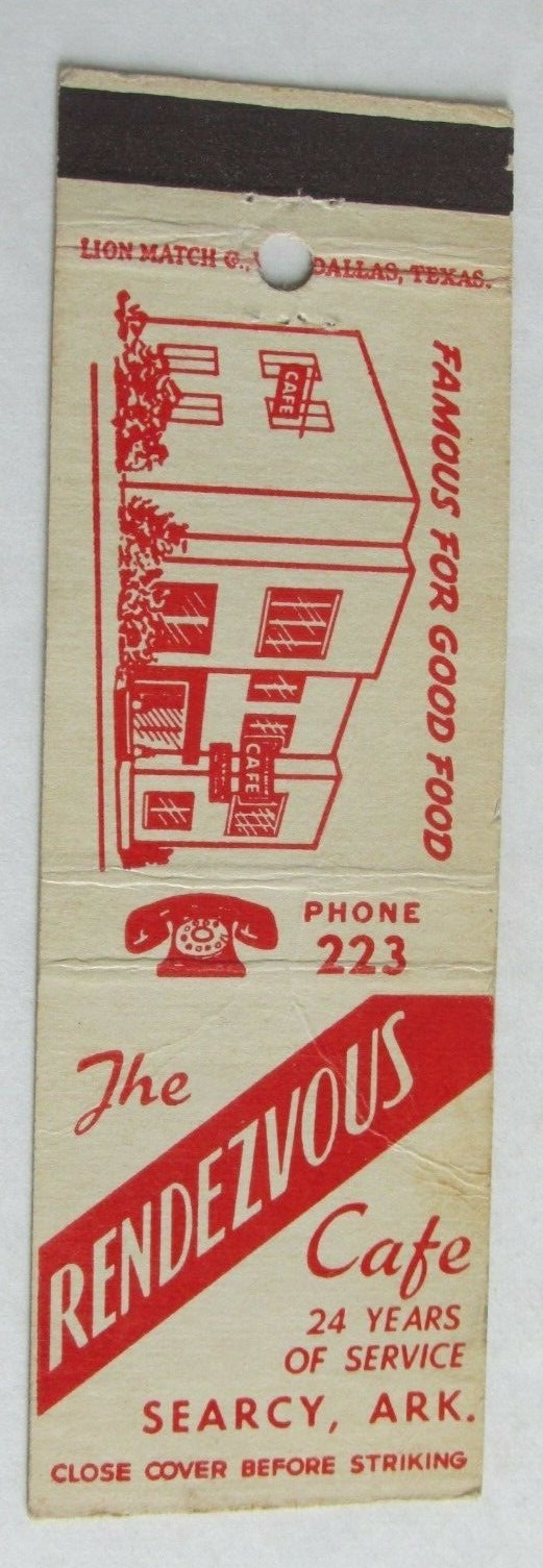 Rendezvous Searcy AR restaurant match book cover