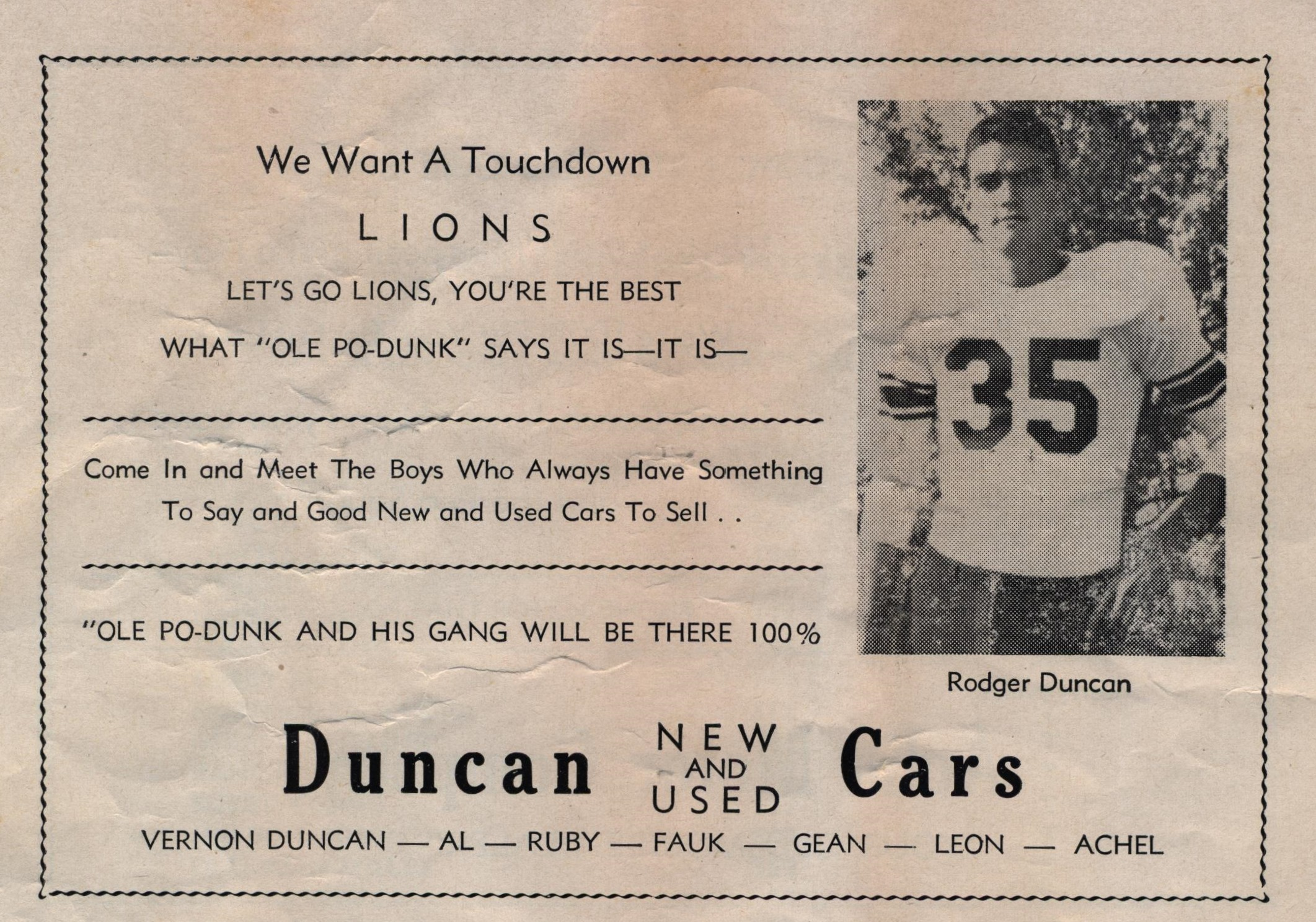 Duncan car lot Searcy AR Ole Po Dunk 1956