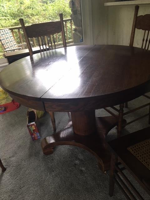 Old round table antique cut to make coffee table - Vintage Table And Chairs. Anita Will Sell. Moving Sale