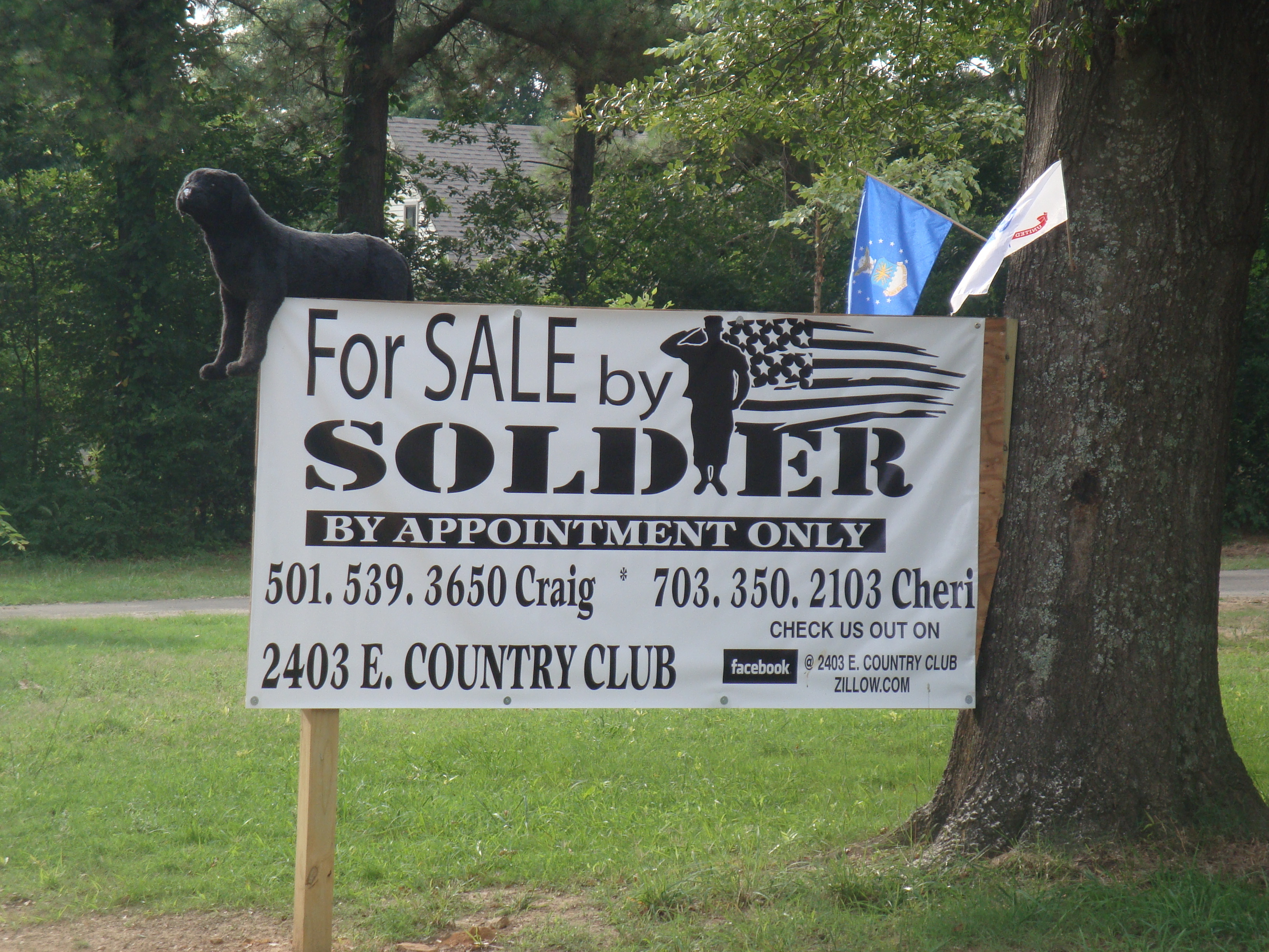 Soldier house for sale Big sign Traveling Dog Humor