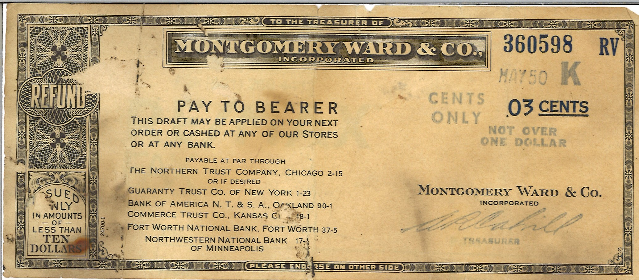 Montgomery Ward three cents refund old