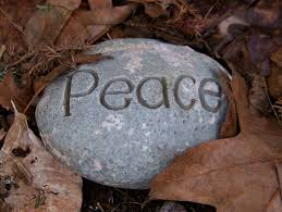 Peace stone in leaves