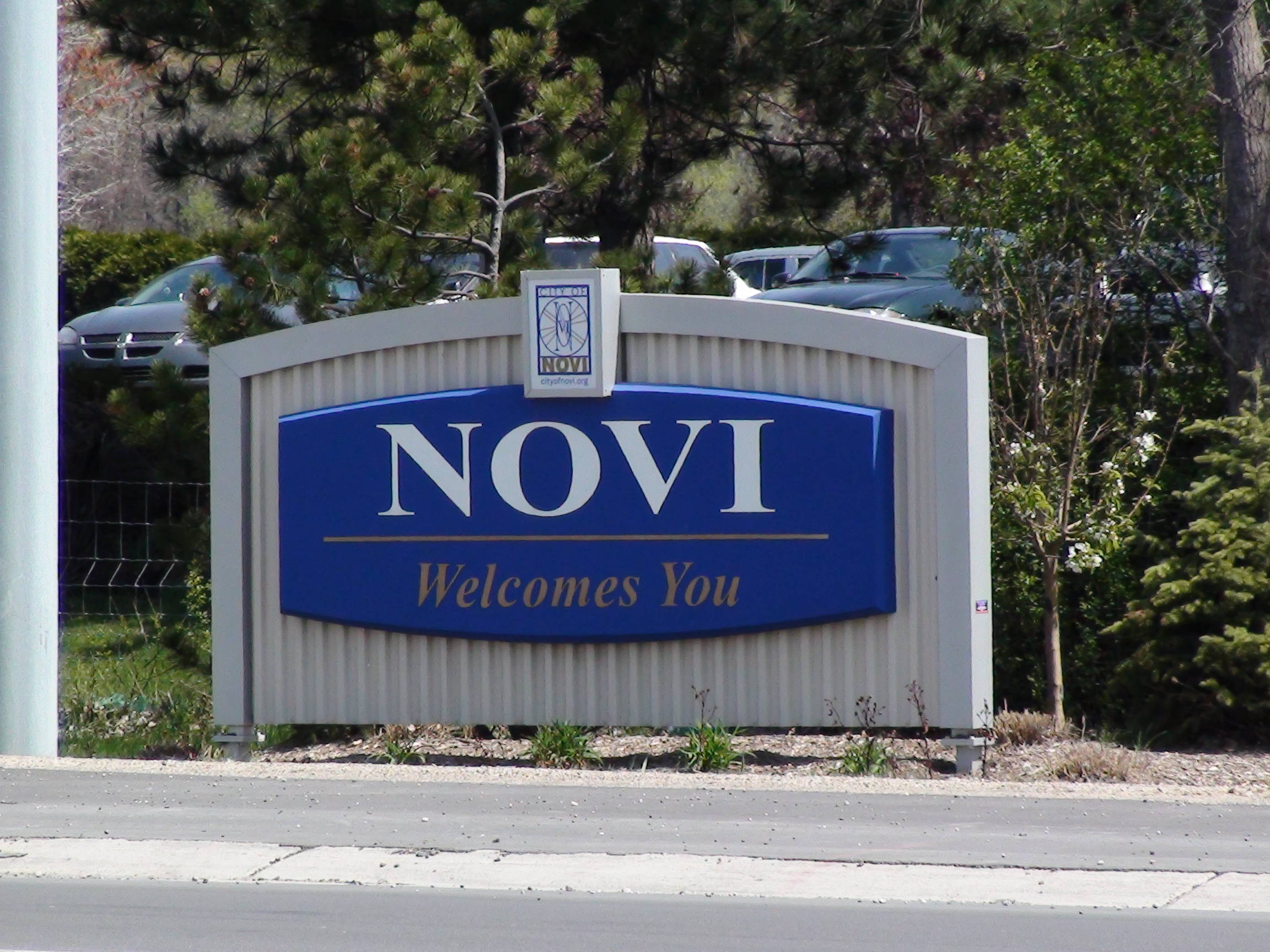 Novi Michigan City Welcome Sign