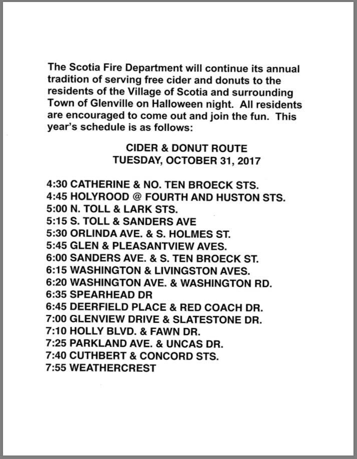 scotia nys halloween cider donut schedule