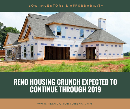 Inventory and affordability remain the two biggest hurdles for Reno home buyers. Experts believe the Reno housing crunch will continue into 2019.