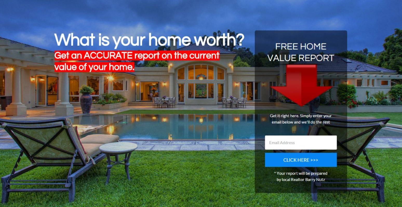 Example of home value landing page