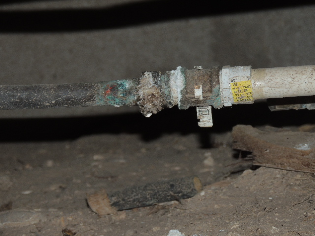 Leak in water line fitting.