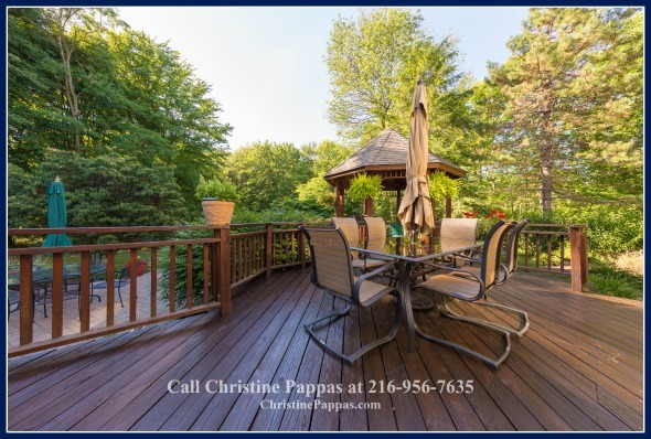 To be surrounded by a relaxiing landscape in your very own Kirtland OH home's tiered deck and gazebo is absolutely divine!