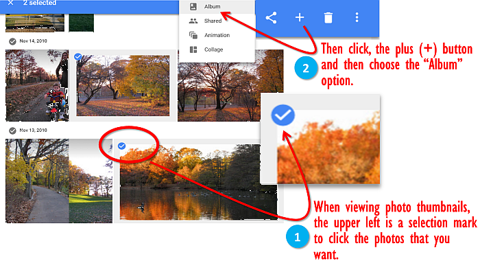 google photos add photos to album