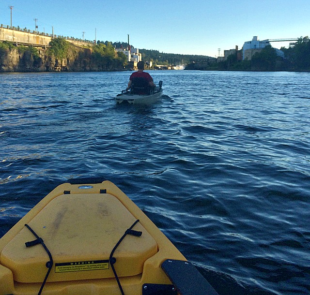 Kayaking On The Willamette River heading to the Willamette Falls in Oregon City