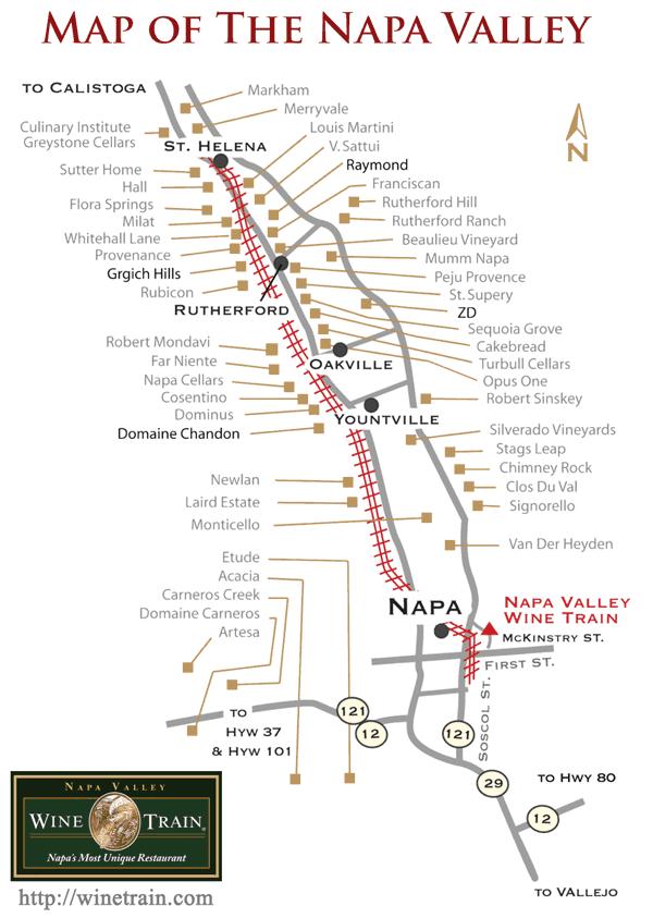 Central Valley Day Trip Napa Valley Wine Train - Napa valley vineyard map