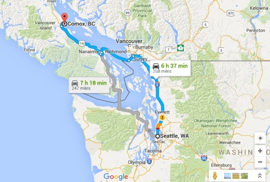 Seattle to Comox Vancouver Island