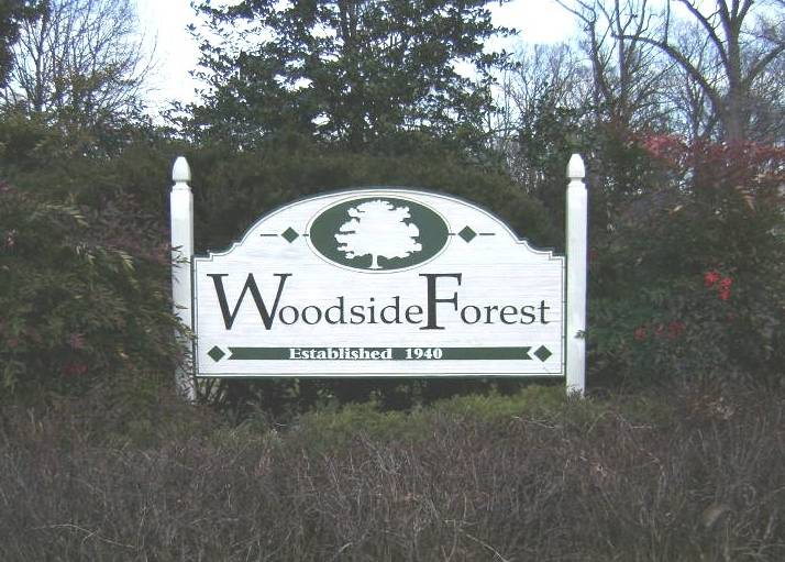 Woodside Forest Entrance Sign