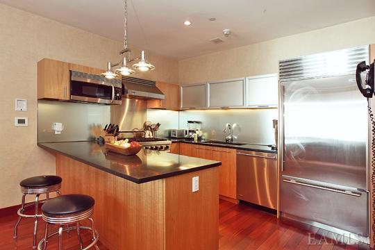 kitchen with granite and stainless steal appliance white plains