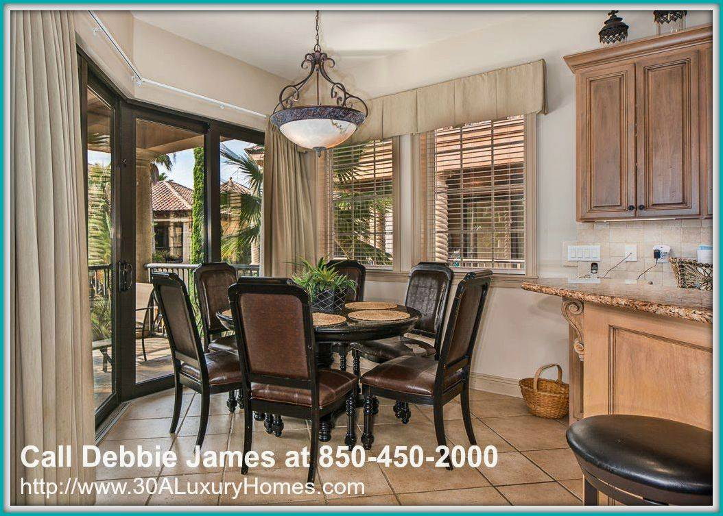 One of the best spaces in this one-of-a-kind Miramar Beach FL 4 bedroom home for sale in Saint Tropez is its classy dining area.