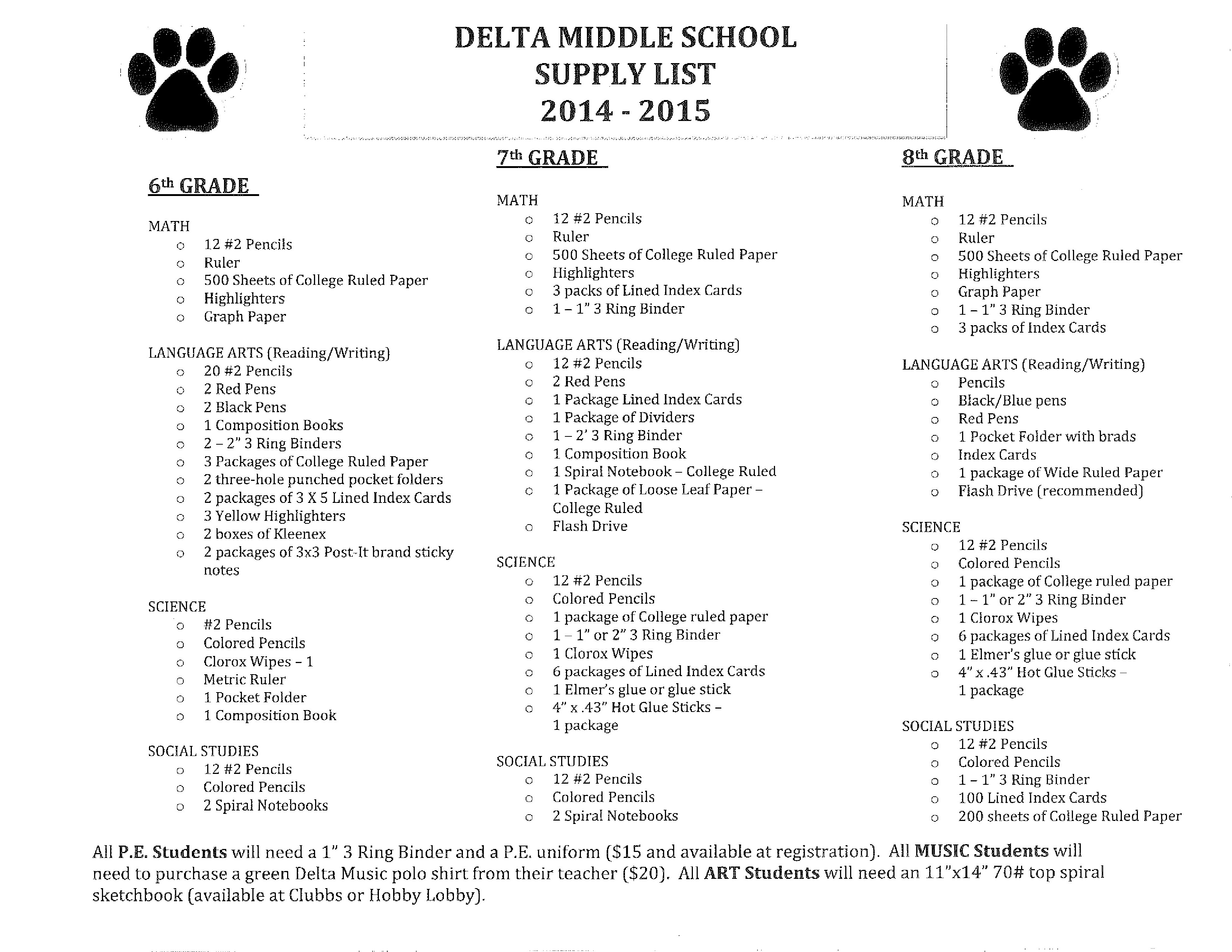 2014 Delta Co Middle School Back To School Supply List And
