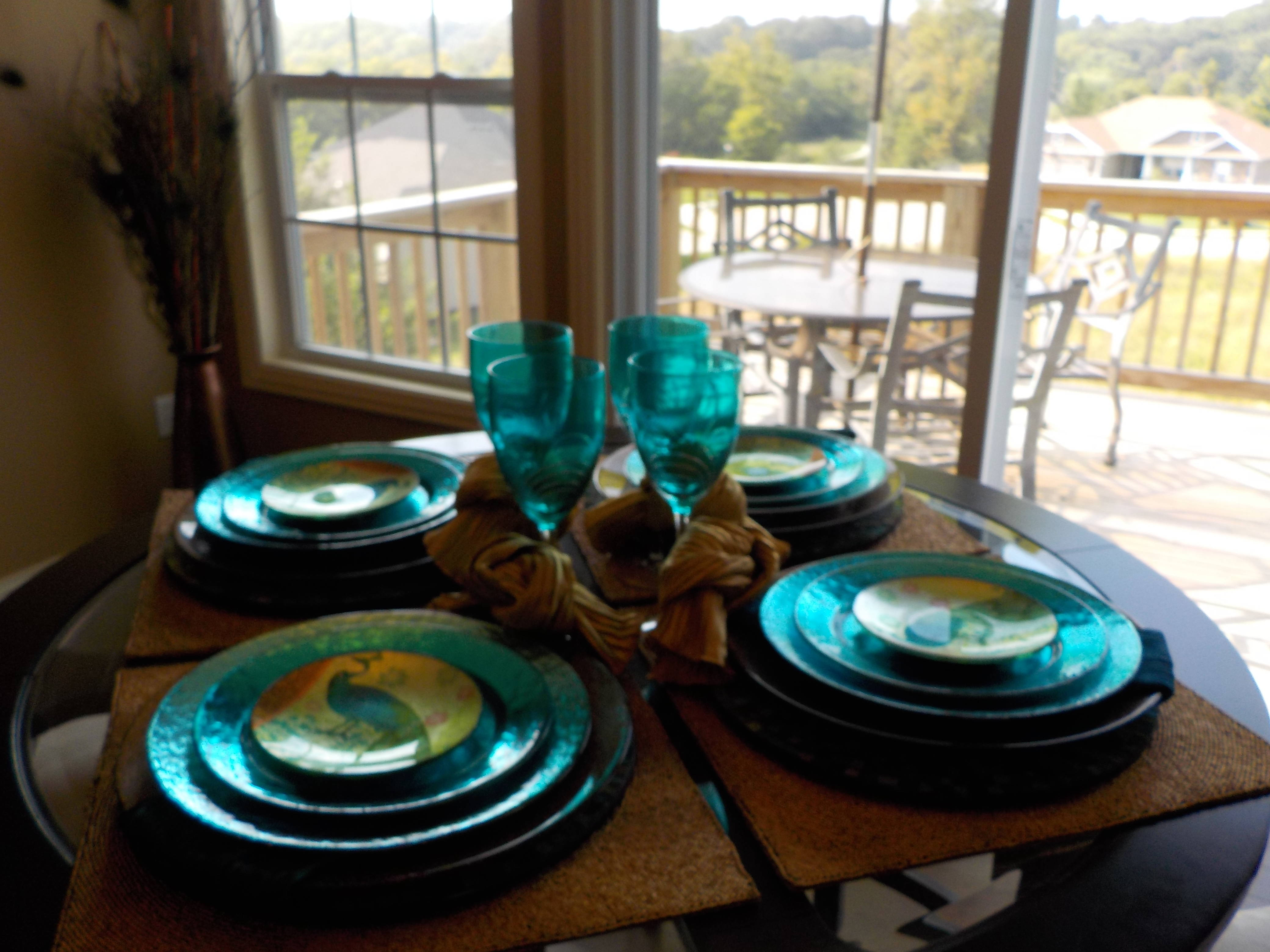Pier 1 Peacock Table Setting