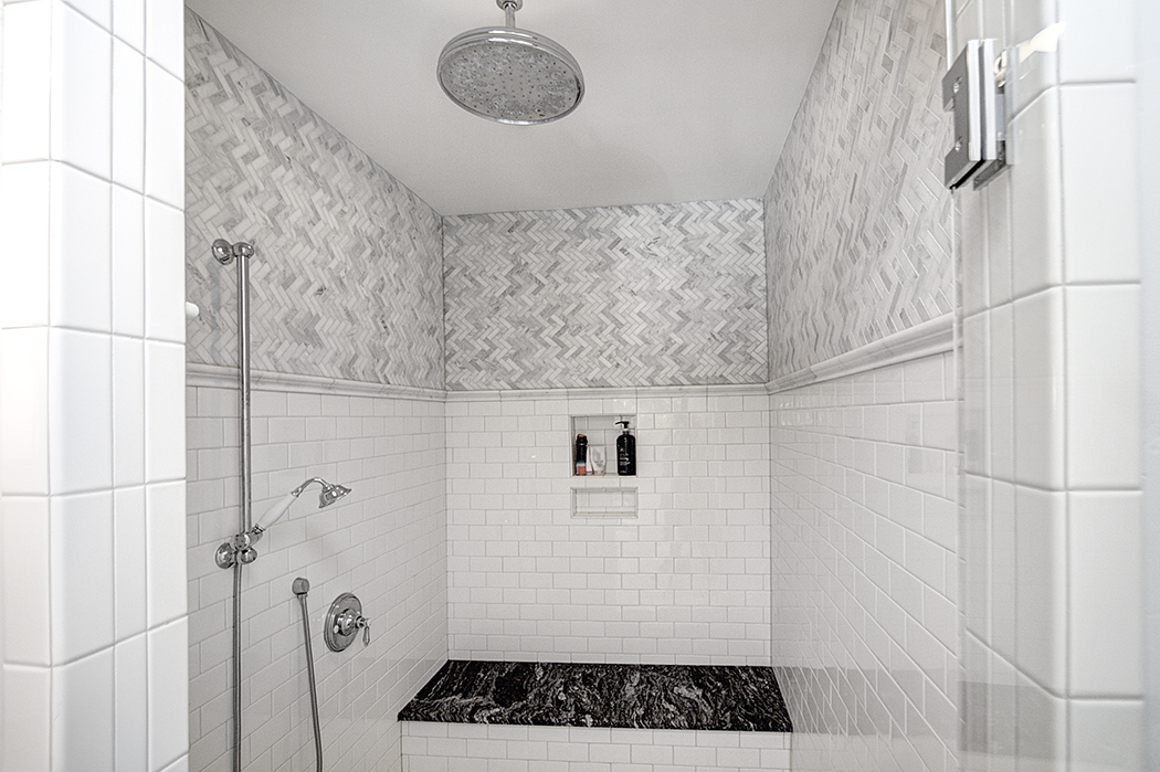Luxurious master shower in Dilworth home