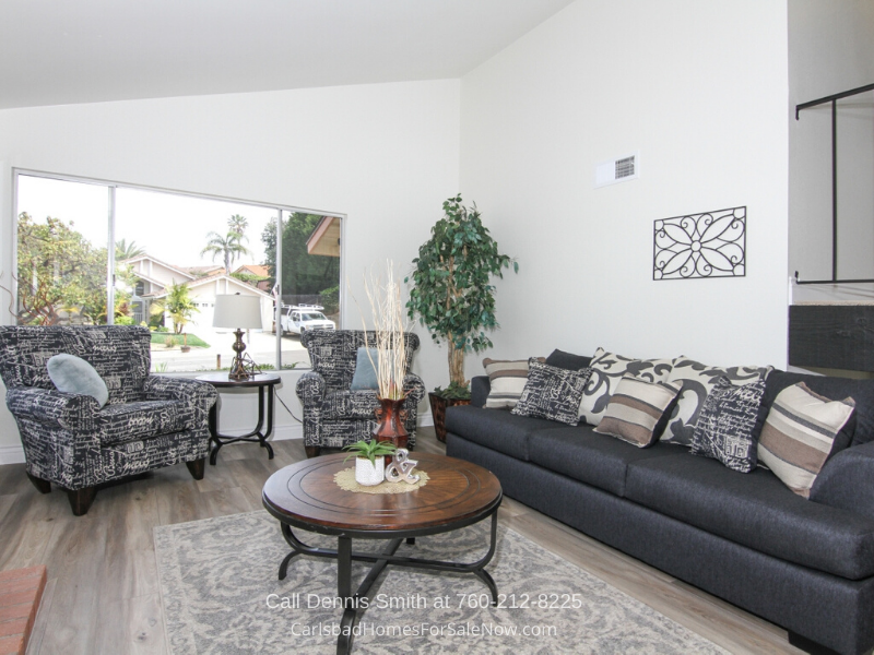 Carlsbad CA Homes - Welcome guests into the bright and spacious living room of this Carlsbad CA home for sale.
