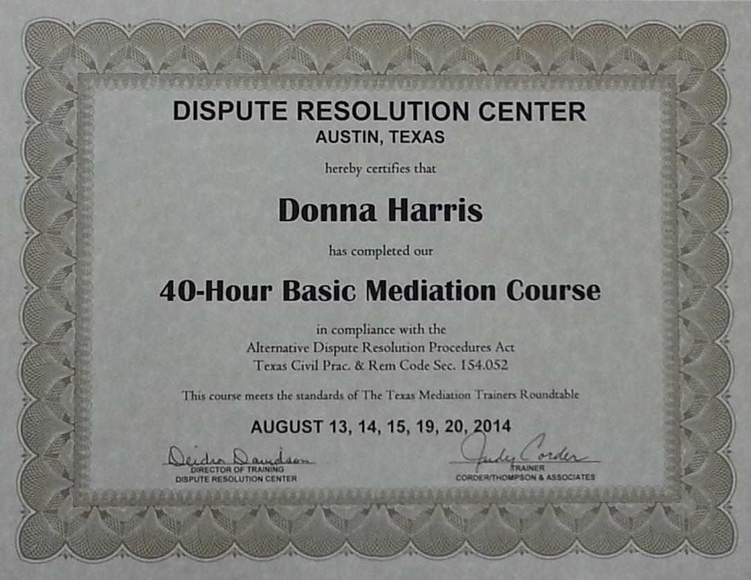 Donna Harris Trained Texas Mediator