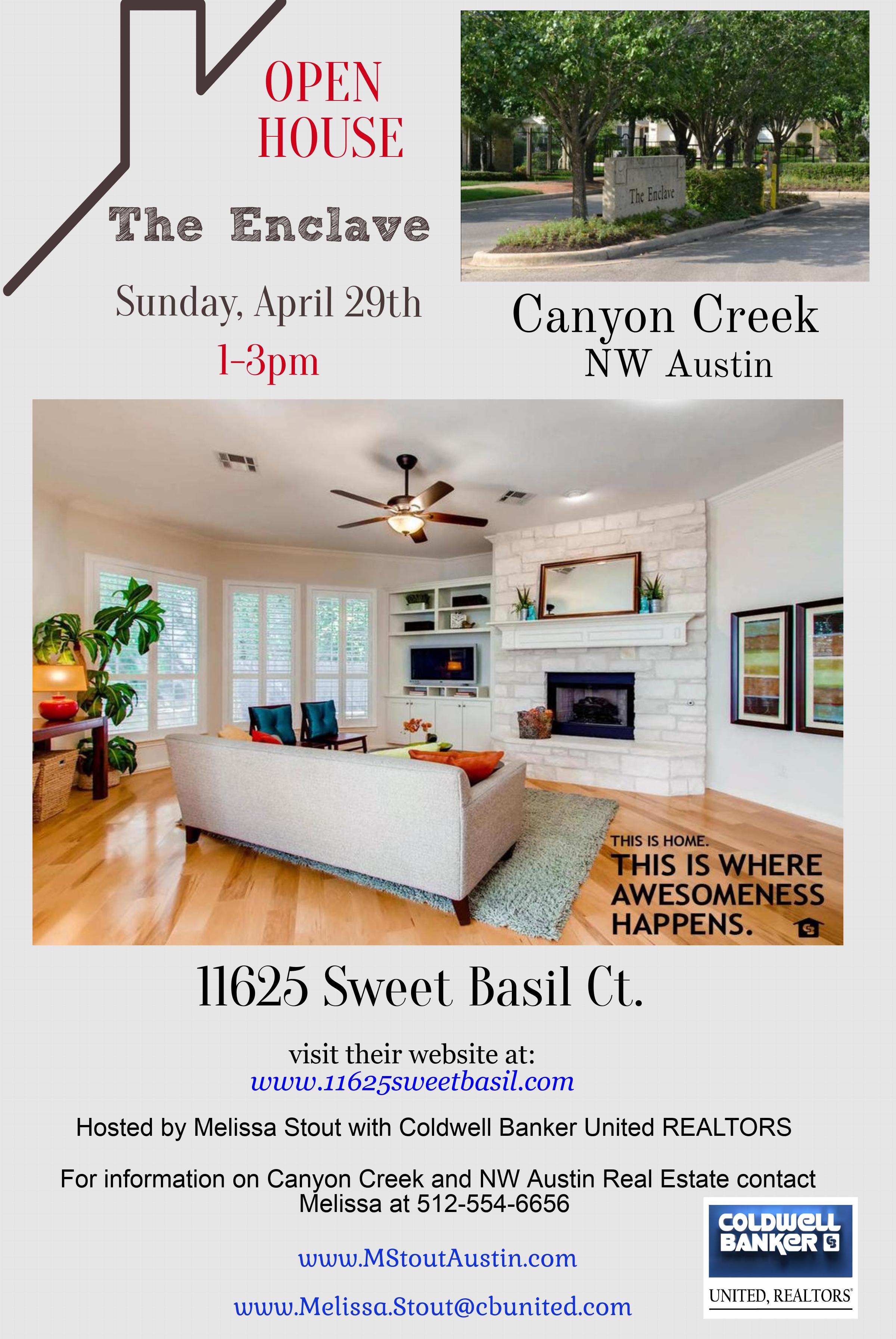 OPEN HOUSE: NW Austin Canyon Creek ~Sunday, April 29th