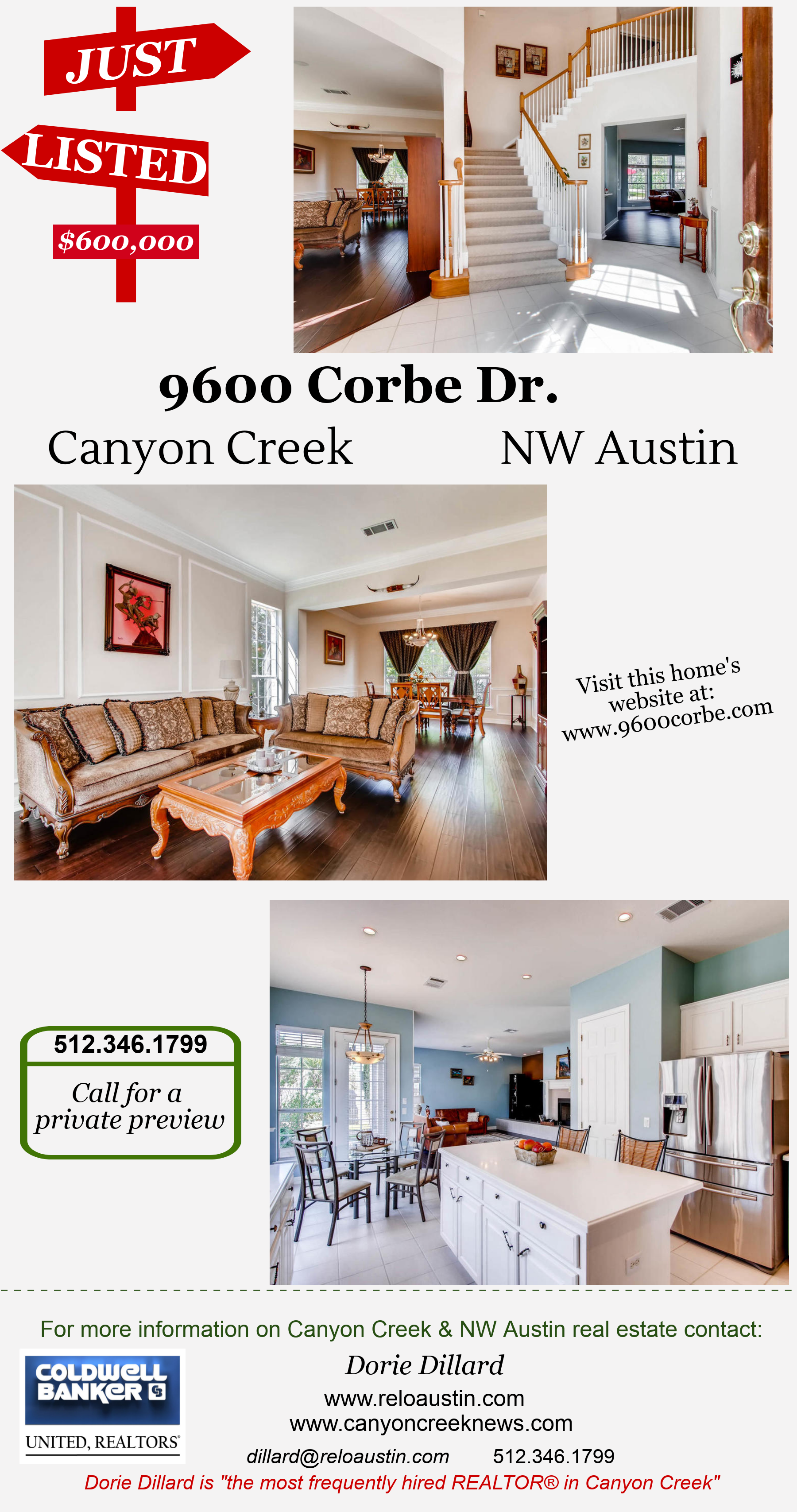 NW Austin: 2 story JUST LISTED in Corbe Estates