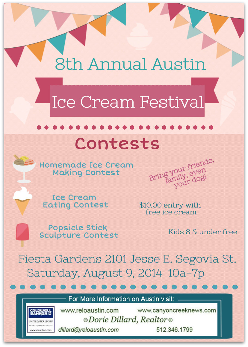 8th annual austinice cream festivalaugust 9 2014 its held at the fiesta gardens and there is a 10 entry fee with free ice creamds 8 and under are free ccuart Gallery