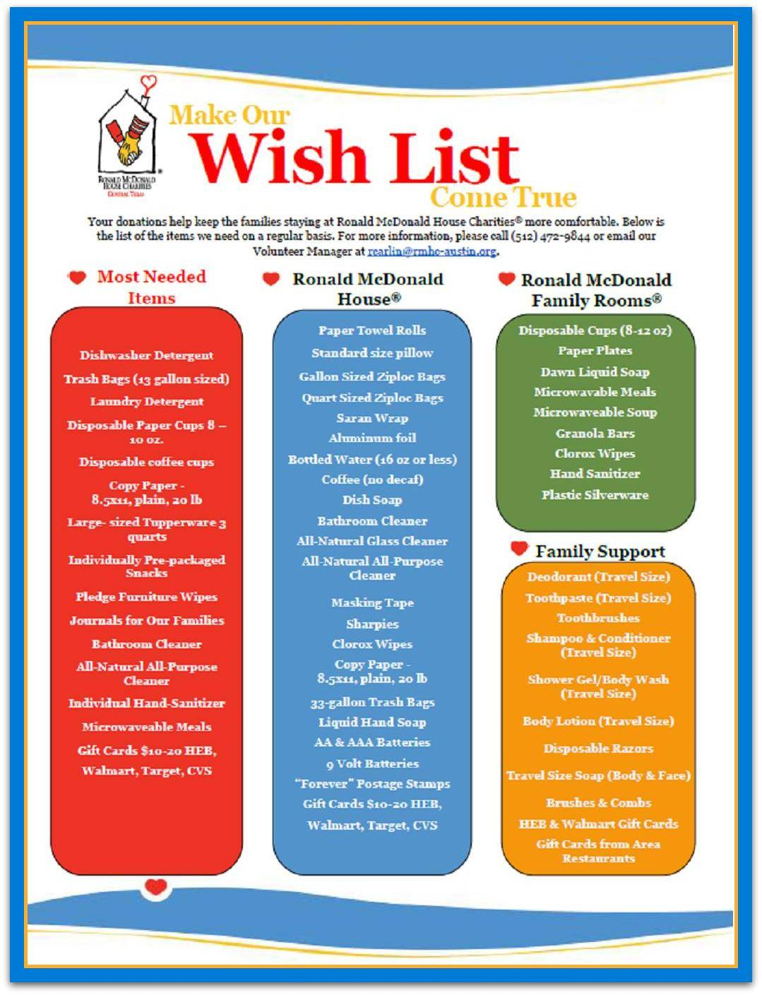 help austin's ronald mcdonald's house wish list