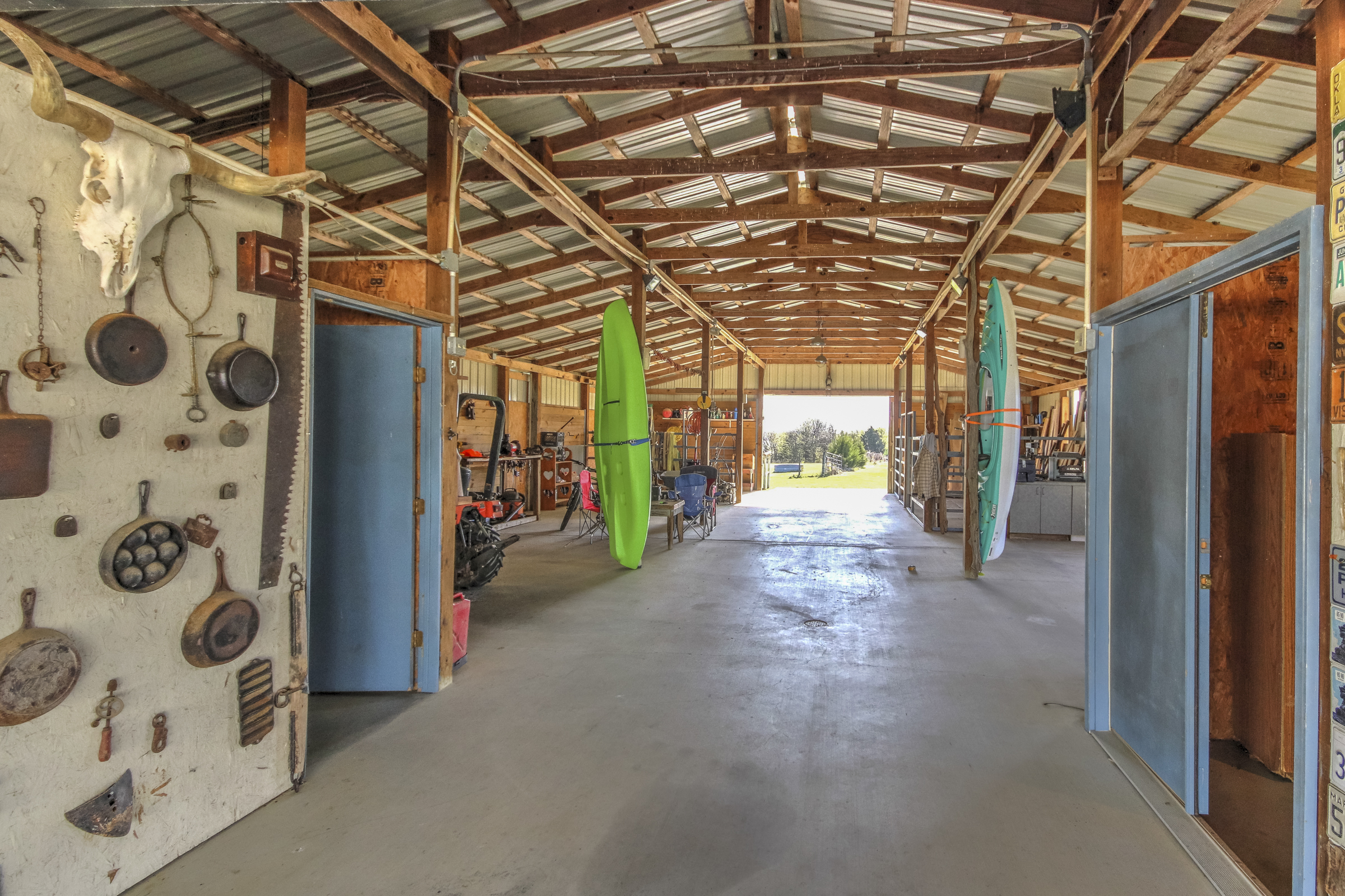 8-Stall Center-Aisle Horse Barn Now Used as a Shop