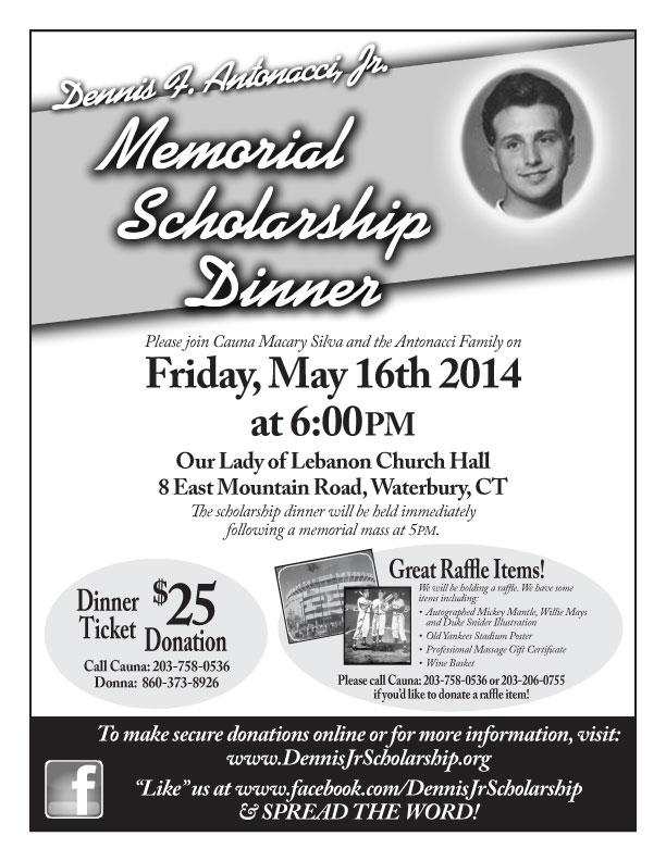 Memorial Scholarship Fundraiser In Waterbury Ct