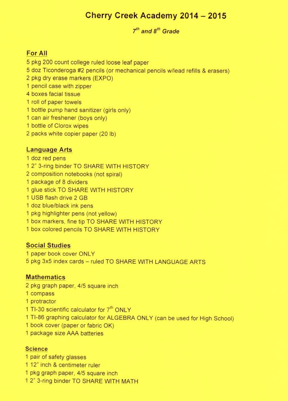 Cherry Creek Academy School Supply List 2014