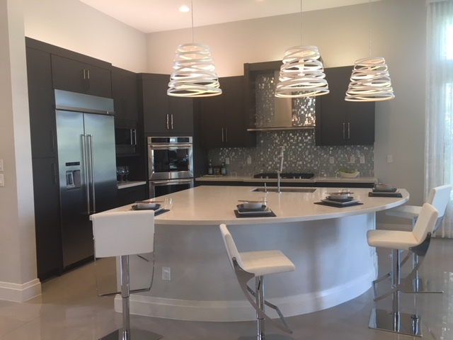 custom kitchen at seven bridges in delray beach by gl homes