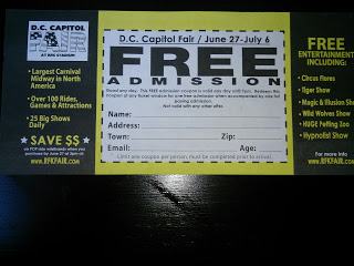 Back of the Free Admission Pass for DC Capitol Fair at RFK Stadium