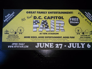 Front of FREE Admission Pass to DC Capitol Fair at RFK Stadium