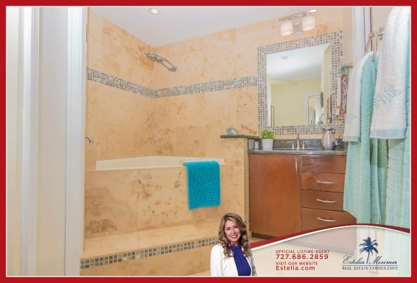 Condos for Sale in St. Petersburg FL - Enjoy complete relaxation in the jacuzzi tub walk-in shower of the master bathroom of this condo for sale in St. Petersburg.