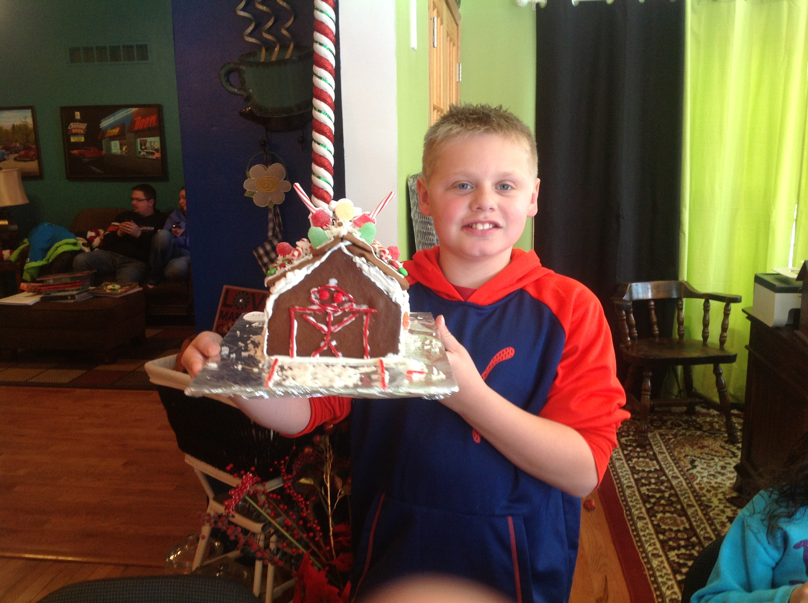 photo of gingerbread house with hocky goal