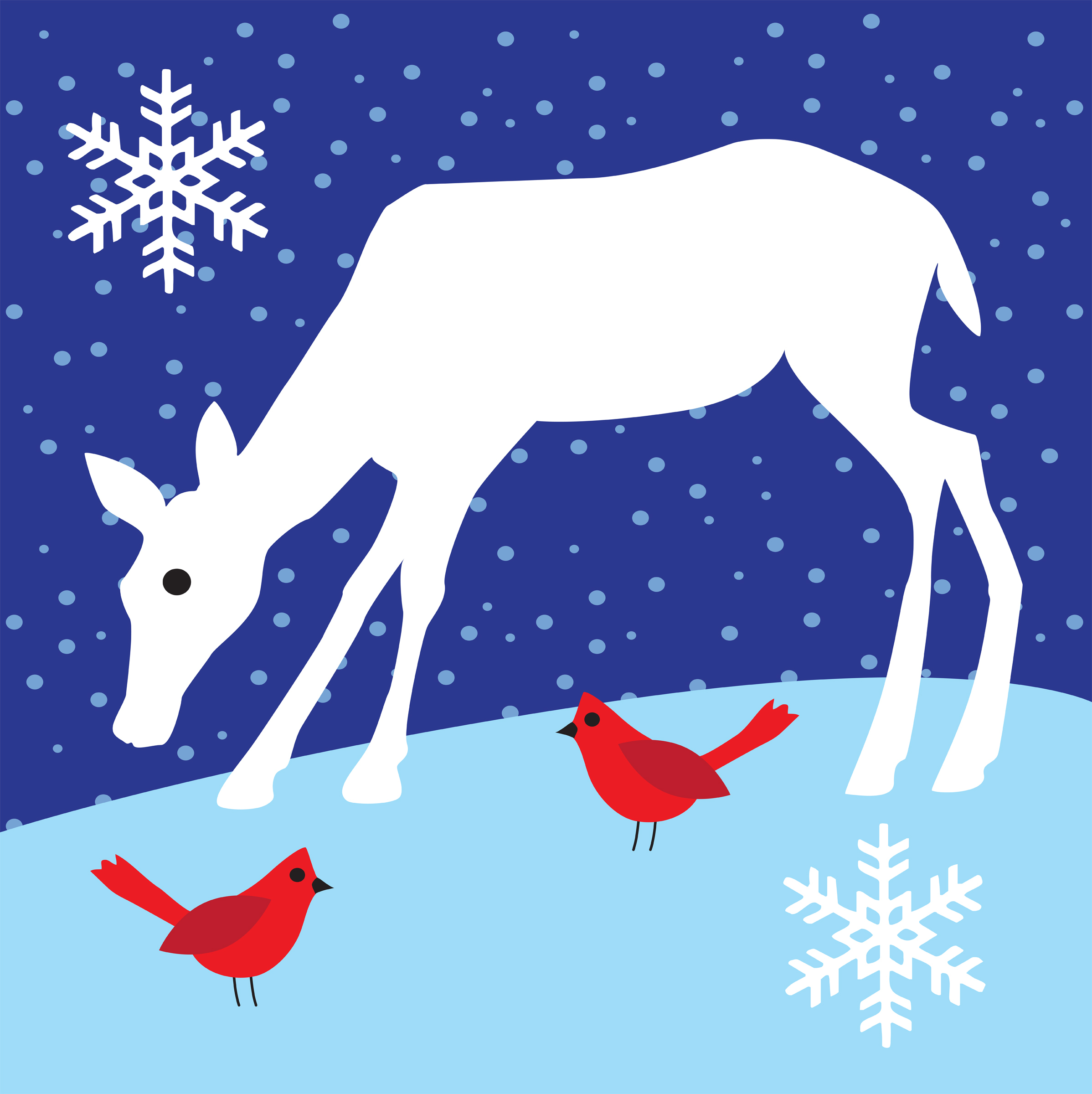 deer and cardinals in the snow from iclipart.com