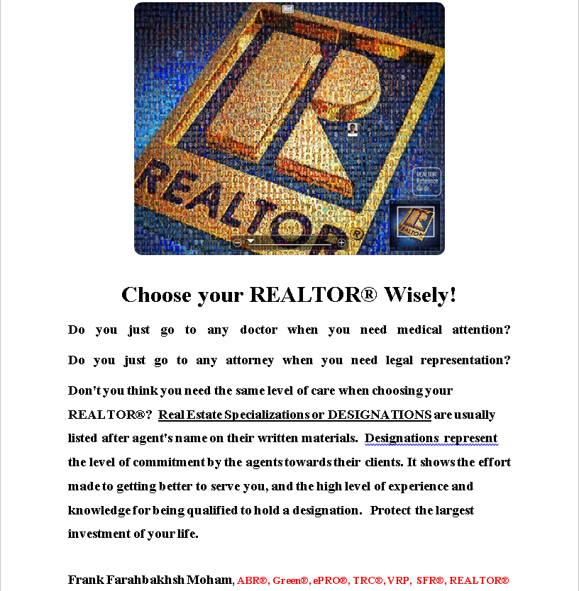Choose your REALTOR® Wisely!