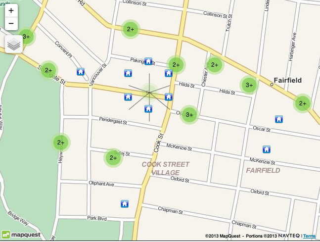 Map of Homes For Sale Near The Cook Street Village