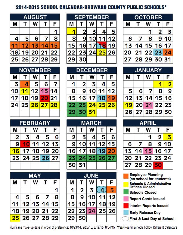 Broward County School Calendar 2014 2015