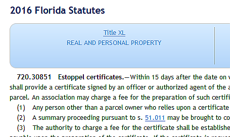 HOA Estoppel Certificates. Are they common in YOUR ...