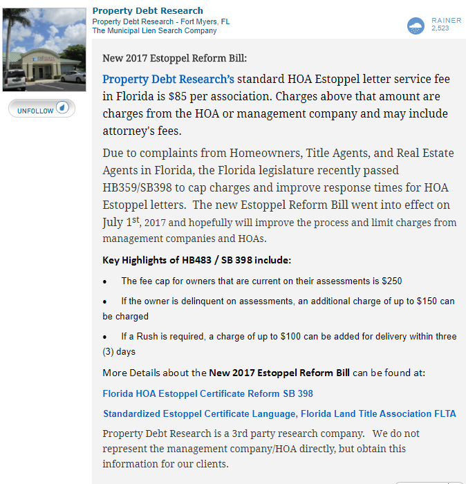 HOA Estoppel Letters  Did you know that Florida Law