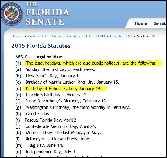 Florida Legal Holidays