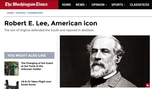 Washington Times on General Robert E. Lee