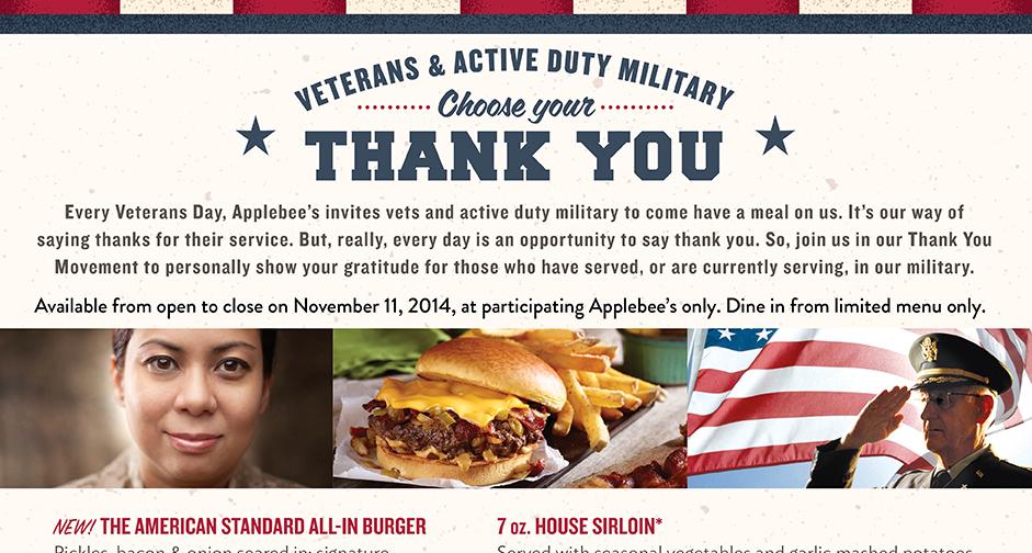Veterans Eat Free Restaurants Veterans Day 2014