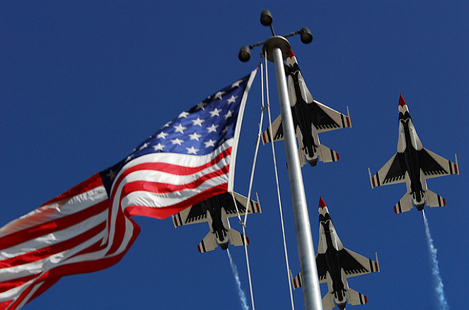 United States Air Force Thunderbirds over American Flag