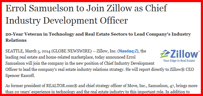 Zillow press release on hiring Errol Samuelson