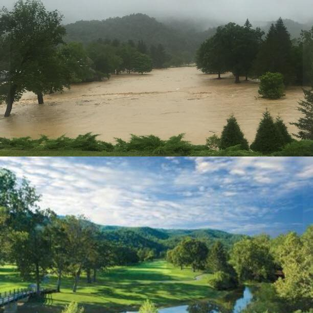 Flood waters at the Greenbrier